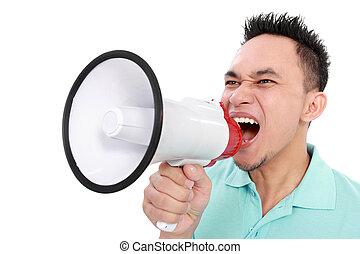man shouting using megaphone