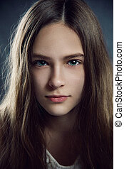 Close-up portrait of young teen girl