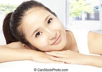 close-up portrait young woman face