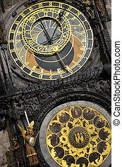 Close-up Prague Astronomical Clock - The Gothic Astronomical...
