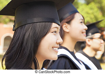 close-up pretty female university graduate  at ceremony