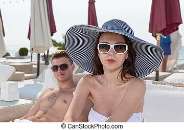 Pretty Young Woman in Summer Beach Fashion