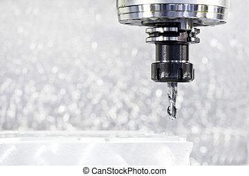 close-up, proces, i, metal, maskinforarbejdning, af, mølle