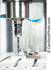 Close-up process of metal drill machining