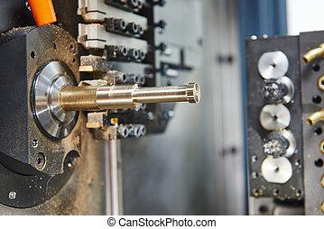 Close-up process of metal machining
