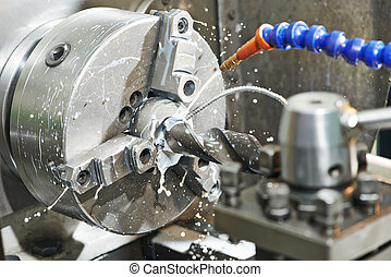 close-up, processo, de, metal, broca, machining