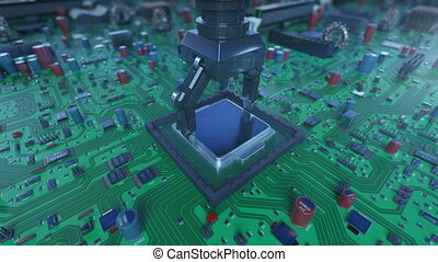 Close-up Processor Installation Process on the Circuit Board with Robotic Arm. DOF Blur. 3d Animation of the Motherboard with CPU. Technology and Digital Concept. 4k