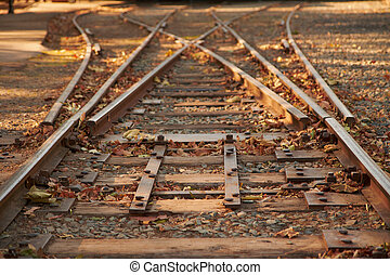 Close up railroad tracks switch with a fork going to the...