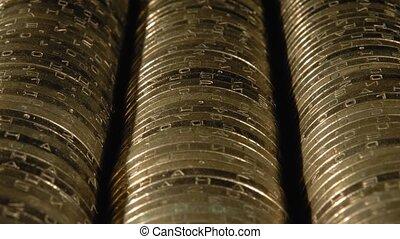 close-up., rangées, métal, pièces, argent., fins