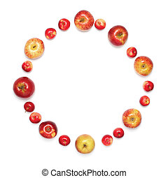 Close-up red apples in the shape of circle isolated on white background