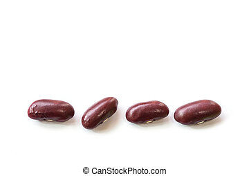 Close up red bean isolated on white