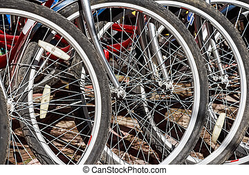 Close up red bikes tires