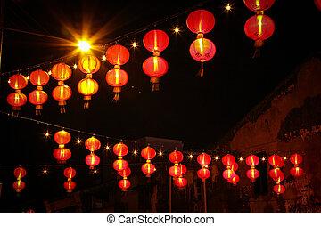 Chinese lanterns - Close up Red Chinese lanterns hang over ...