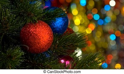 Red Christmas ball and tree over Blinking Background