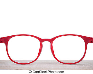 Close up red glasses lenses isolated on white background