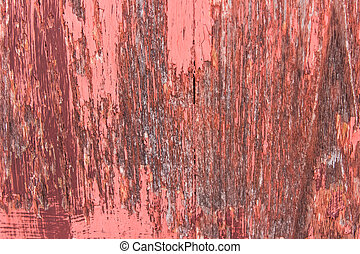 close-up red wood  peeling paint