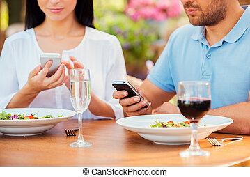 close-up, relaxante, separado, telefones, junte ao ar livre,...