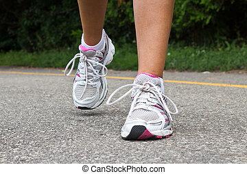 close-up., rennender , runner., schuhe, weibliche