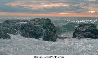 Close-up - Restless Waves Splashing On A Rocky Island Near ...