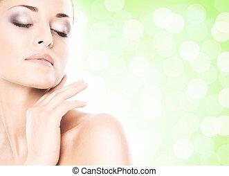 close-up, retrato, de, bonito, fresco, saudável, e, sensual, menina