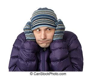 close-up, retrato, de, congelação, homem jovem