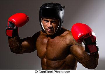 close-up, retrato, de, homem jovem, com, boxe, capacete