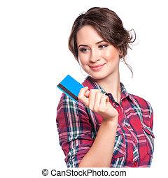 close-up, retrato, de, jovem, sorrindo, mulher negócio, segurando, cartão crédito, isolado, branco, fundo