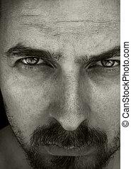 close-up, retrato, de, masculino, sujeito
