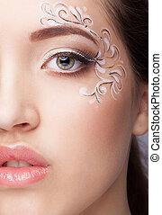 close-up, retrato, de, mulher jovem, com, rosto, arte, compor