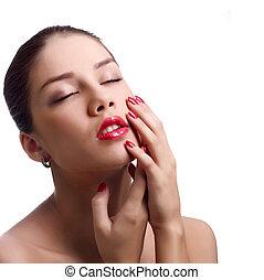 close-up, retrato, de, sensual, caucasiano, mulher jovem, com, vermelho, luminoso, manicure