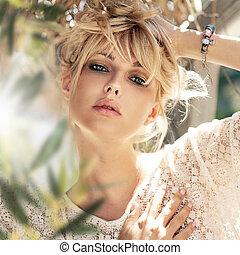 close-up, retrato, de, um, bonito, sensual, mulher