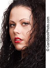 close-up, retrato, de, um, mulher bonita, com, cabelo ondulado