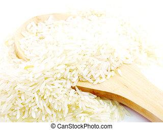 close up rice isolated on white background