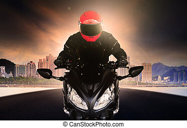 close up rider man wearing safety suit and anti knock helmet...