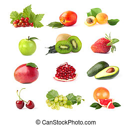close-up, rijp, collage, sappig, verzameling, vrijstaand, achtergrond., fruit, vruchten, fris, witte