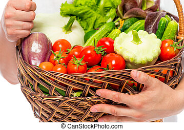 close-up, rijp, groentes, sappig, farmer, mand