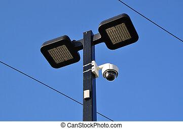Close-up road lamp and video camera
