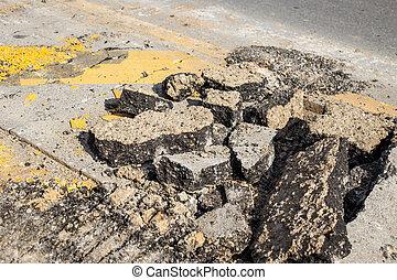 Close up road repair