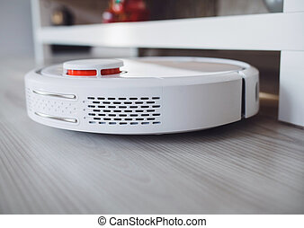 close-up robot vacuum cleaner