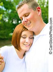Close Up Romantic Caucasian Couple