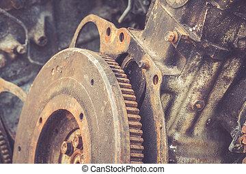 Close up rusty gears