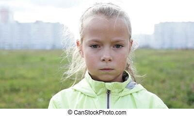 Close up sad  little girl