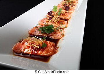 close-up salmon meat