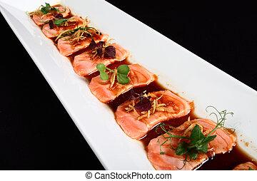 close-up Salmon Steak with sauce