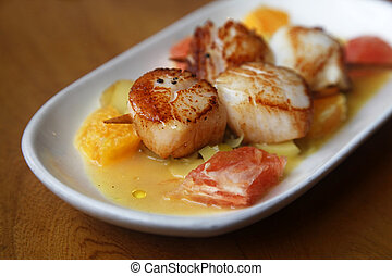 Scallop seafood - Close up Scallop seafood appetizer with...