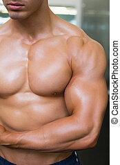 close-up, seção, meio, muscular, shirtless, homem