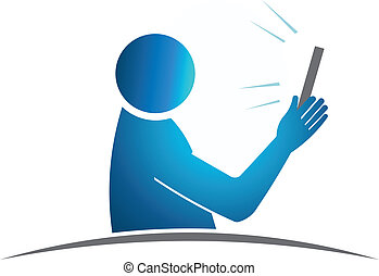 Close up Selfie. Concept of taking a self portrait with smart phone. Vector design