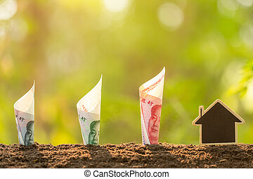 Chinese banknote and house model growing in soil with green ...