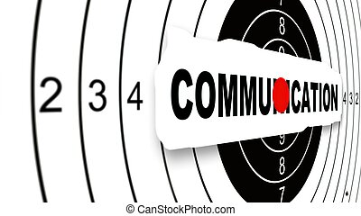 Close up Shooting target with word communication