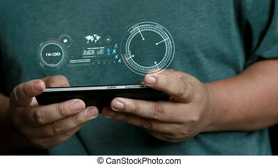 Close up shot Hands of man using mobile smart phone with HUD head up display interface for futuristic cyber network connection concept